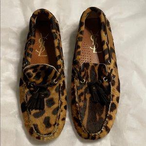 Yves Saint Laurent YSL Leopard Moccasins Flats